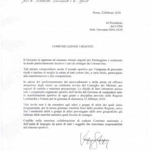 Coronavirus, blocco eventi sportivi in Lombardia e Veneto