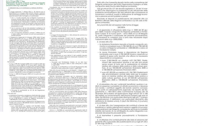 Approvazione del bando congiunto tra Regione Lombardia e Fondazione Cariplo «È di nuovo sport» – Anno 2020, in attuazione della d.g.r. 3300/2020