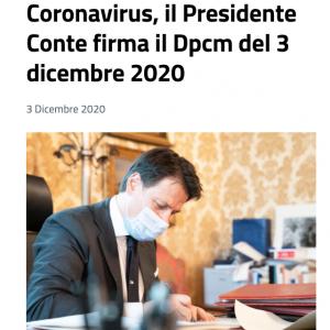 EMERGENZA CORONAVIRUS: DA OGGI IN VIGORE IL NUOVO DPCM DEL 03 DICEMBRE 2020